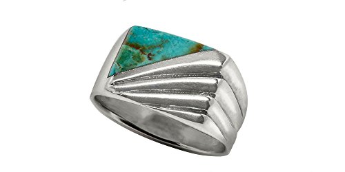 Southwest Sterling Silver 10x12mm Genuine Turquoise Men's Ring (13) (Turquoise Silver Ring Gallery)
