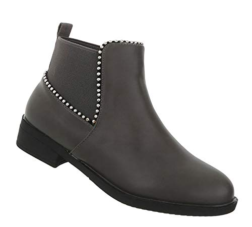 41 Grau Stiefeletten Schuhe Leder Stiefel 36 Optik Kurze Flache Blockabsatz Damen Ankle Boots Booties UATw7qS