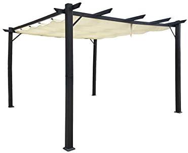 Jet-line Gazebo Luxor - Cenador para jardín (3 x 4 m, protección solar), color gris y beige