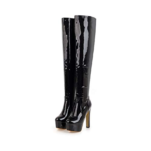 T-JULY Winter Women Over The Knee Boots Patent Pu Round Toe Footwear Platform High Heel Ladies Shoes Black