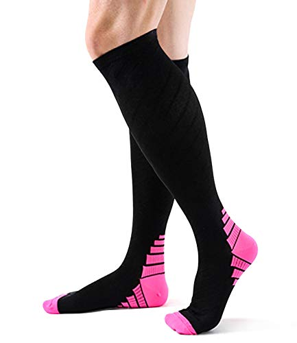 Compression Socks for Women Circulation,20-30mmhg Knee High Thick Black Sports Running Men Sock Stocking-Support Hose Recovery,Relief Calves Foot Pain for Athletic Pregnancy Travel Nursing Flying
