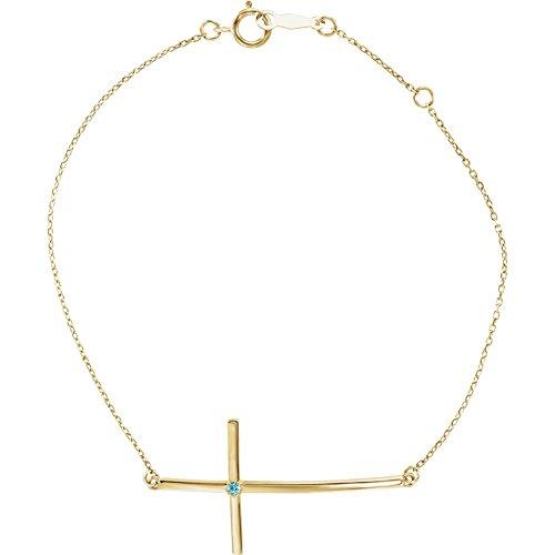 14K Yellow Blue Zircon Sideways Cross Bracelet by DiamondJewelryNY