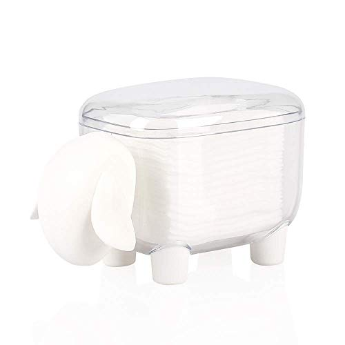 Cotton Swab Holder Sheep Shaped Toothpick Cotton Ball Dispenser Organizer Container with Cover,White