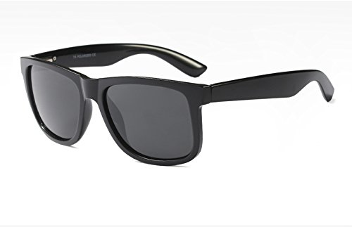 Sol Negro TL Gafas Sunglasses polarizadas TR90 de Mate Azul Hombres con Guía UV400 black qxzIxw