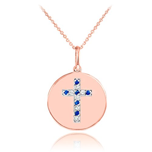 14k Rose Gold Cross Diamond and Sapphire Disc Pendant Necklace (22 Inches)