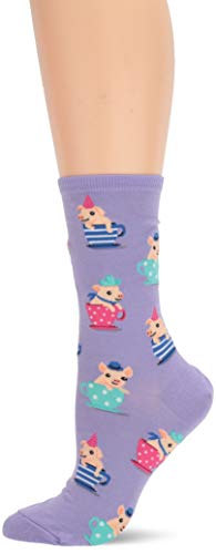(Hot Sox Women's Animal Series Novelty Casual Crew Socks, teacup Pigs (Lavender), Shoe Size: 4-10)