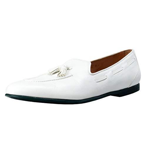 Salvatore Ferragamo Men's Riva Leather Loafers Shoes US 10.5 D IT 43.5 D White