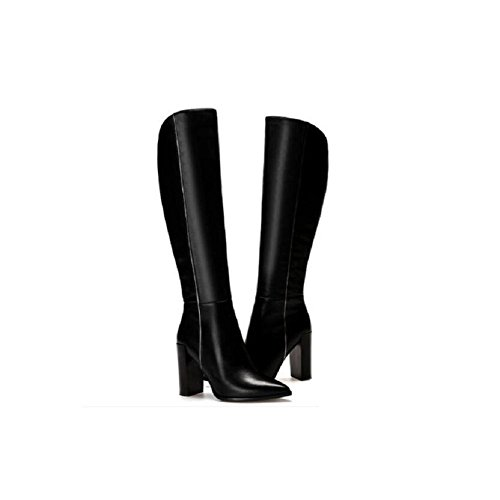 pieno di con 34 tacco imbottito fatti velluto cuoio stivali mano Inverno Plus stivali caldo punta alto donna 36 stivaletto a spessa qHI7xAv