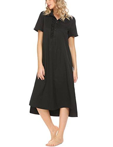 Pure Cotton Sleepshirt (Acecor Women 100% Cotton Victorian Short Sleeve Nightgown Pure Sleepwear (Black, XL))