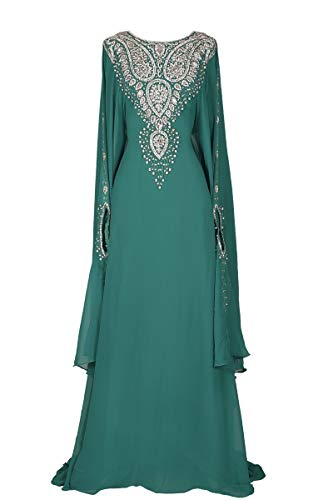 Covered Bliss Menal Kaftan for Women-Long Sleeve Maxi Dress, Gown Formal Lounge Wear (Teal), Free Size
