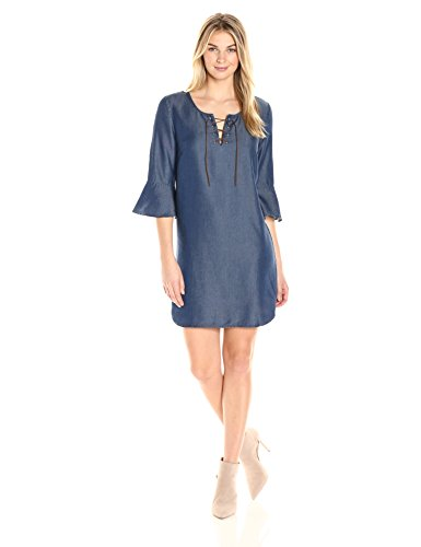 James & Erin Women's Denim Laced-Front Shift Dress