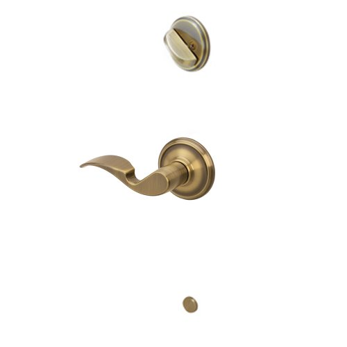 Schlage F59 AVA 609 RH Avanti Interior Right-Handed Lever with Deadbolt, Antique Brass (Interior Half Only)
