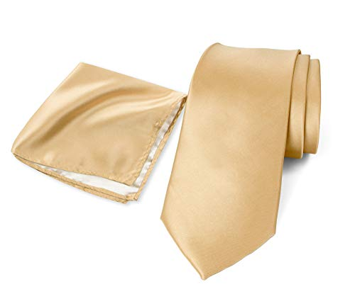 Spring Notion Men's Solid Color Satin Microfiber Regular Tie and Hankerchief Set Antique Gold (Tie Antique Mens)