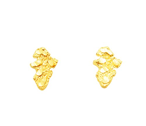 Gold Womens Nugget - 10k Yellow Gold Tiny Nugget Earrings
