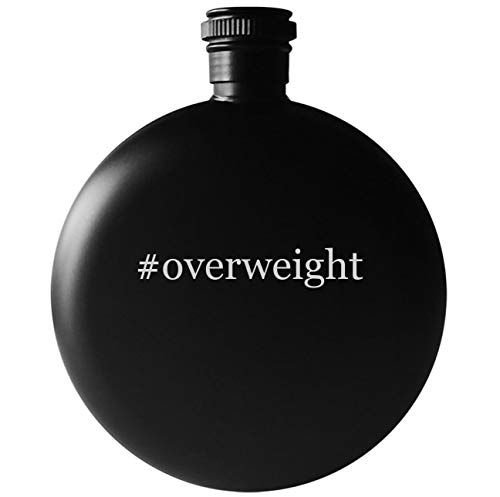 #overweight - 5oz Round Hashtag Drinking Alcohol Flask, Matte Black