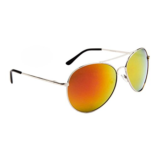 Color Mirrored Aviators Metal Frames with Spring Hinges! (Silver-Fire)