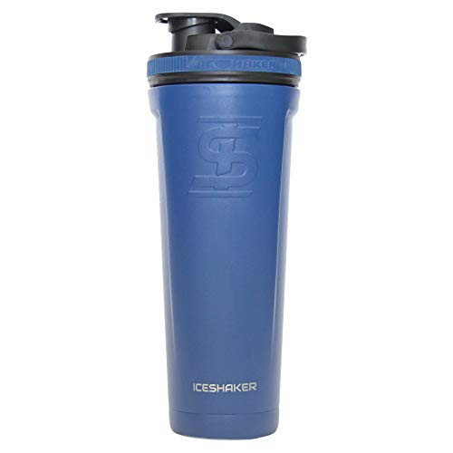 Ice Shaker Stainless Steel Insulated Water Bottle Protein Mixing Cup (As seen on Shark Tank) (Navy, 36oz)