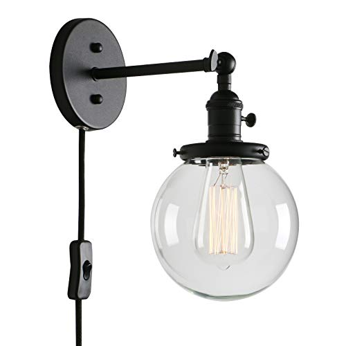 Shade Wall Lamp - Permo 1-Light Plug in On/Off Switch Wall Sconce with Mini 5.9