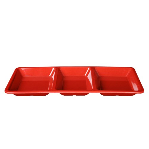 (Global Goodwill Jazz Series 1-Piece 28-Ounce, Rectangular 3 Section Compartment Tray, 15-Inch by 6-1/4-Inch by 1-3/8-Inch, Jazz Red)
