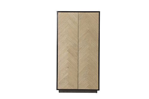 Flamant Helly Herringbone Closed Door Cabinet,Weathered Natural (Living Room Media Storage Ottoman)