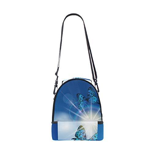 Escuela Para Con Hombro Mariposas La Pincnic Térmica Ajustable Diseño Correa Azules Bolsa Alinlo El De STRqzTOw