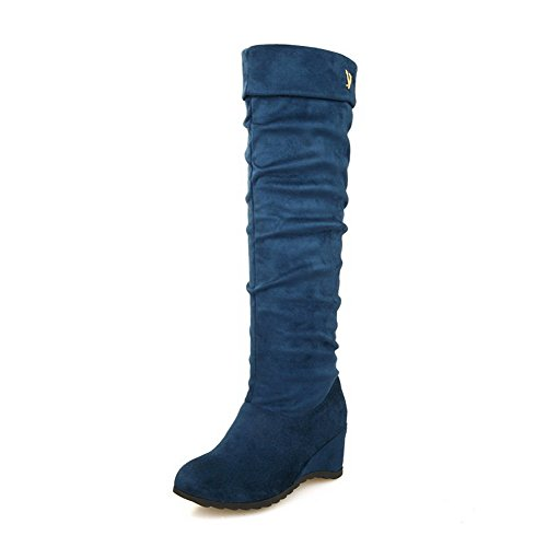 AgooLar Women's Imitated Suede High-top Solid Pull-on Kitten-Heels Boots Blue