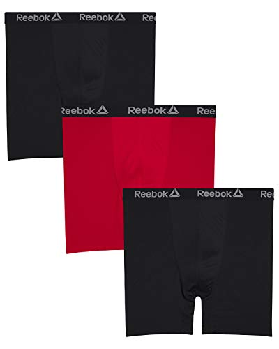 Reebok Mens 3 Pack Athletic Compression Performance Boxer Briefs (Big & Tall)