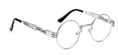 WebDeals - Round Circle Vintage Metal Sunglasses Eyeglasses Bold Design Decorated Frame and Nose Piece (Silver, - Men Glasses Silver