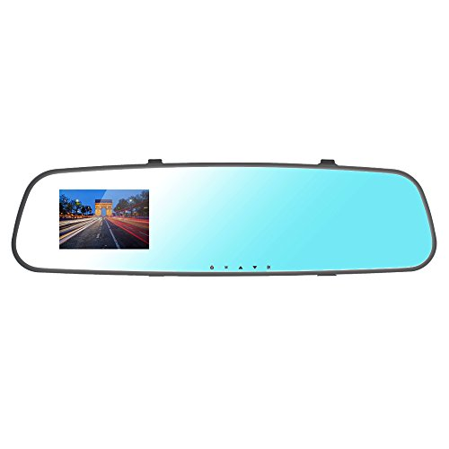 Cansonic UltraMirrorM1 Dash Cam Car Camera DVR Dashboard Digital Driving Video Recorder with Full HD 1080P, 140 Degree Wide Angle, 2.7 Inch High Resolution LCD, Rear Mirror Silicon Strap by Cansonic