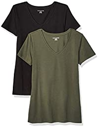 db183653 Amazon Essentials Women's 2-Pack Classic-Fit Short-Sleeve V-Neck T