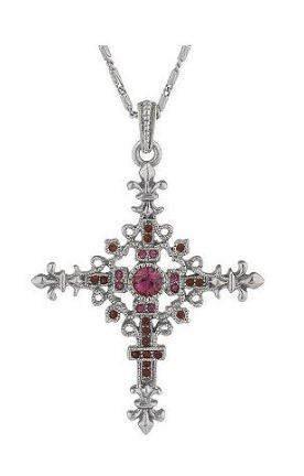 Jackie Kennedy Fleur de Lis Cross Necklace NEW!! Retired Item