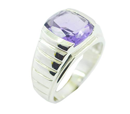 Cab Amethyst Ring - India 925 Sterling Silver Bonnie Genuine Purple Ring, Amethyst Purple Stone Silver Ring