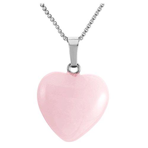 CrystalTears Semi-Precious Stone Heart Pendant Necklace Rose Quartz Healing Crystal-Family and Friends Jewelry Gift (Stone Heart Precious)