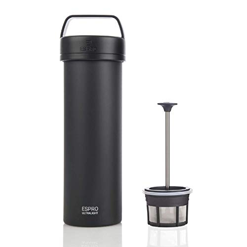 (Espro 5116C-18BK Ultralight Coffee Press, Vacuum Insulated, Stainless Steel, 16 oz (Matte Black), Meteorite)