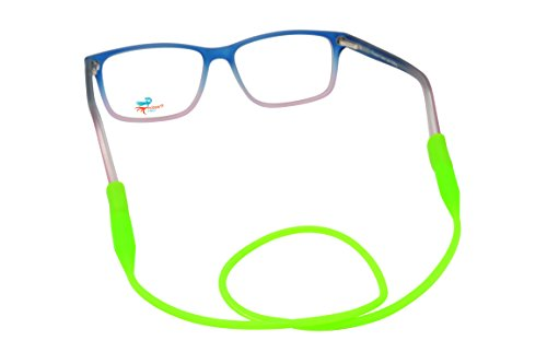 Retainers for Eyeglasses | Practical and Fun Neck Cord | Unisex Round Anti Slip Adjustable Rubber Elastic Strap for Glasses (Neon - Glasses Neon Green