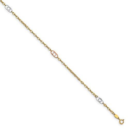 - Leslie's 14k Gold Diamond Cut Tri Color Gold Anklet