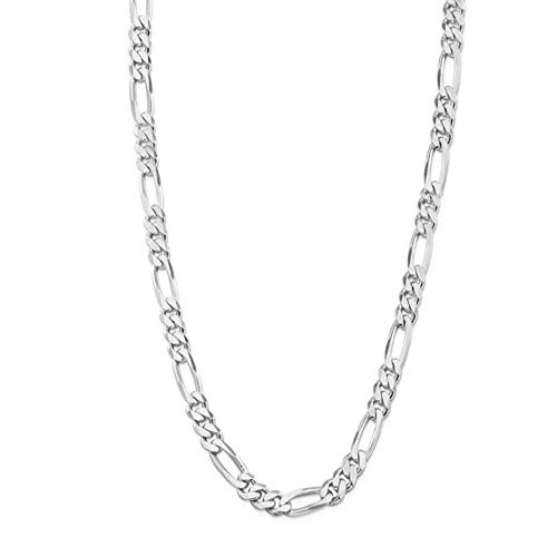 Verona Jewelers 7MM 925 Sterling Silver Classic Figaro Chain - Italian Necklace Figaro Chain ()