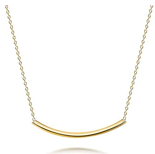 14k Gold on Sterling Silver Long Curved Bar Tube Necklace Layering Necklace 18 inch Great Gifts for Women Girls SSNK18-9G
