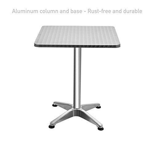 Square Top Aluminium Bar Table Commercial Residential Rust-free Waterproof UV Resistant Home office Kitchen Indoor Outdoor Furniture - Shops City Perth Centre