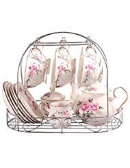 ufengke 15 Piece European Bone China Coffee Cup Set, Ceramic Porcelain Tea Cup Set with Metal Holder, Tea Gift Sets, Pink Camellia Painting by ufengke-ts