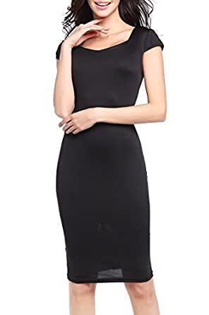 YMING Women Lady Celebrity Classic Pleated Inspired Pencil Black Dress XS