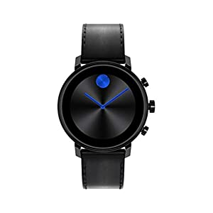 Movado Connect 2.0 Unisex Powered with Wear OS by Google Stainless Steel and Black Leather Smartwatch, Color: Black (Model: 3660029)