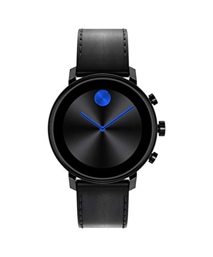 Movado Connect 2.0 Unisex Powered with Wear OS by Google Stainless Steel and Black Leather Smartwatch, Color: Black…