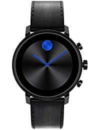 Connect 2.0 Unisex Powered with Wear OS by Google Stainless Steel and Black Leather Smartwatch, Color: Black (Model: 3660029)