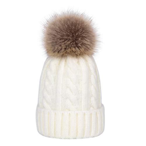 Lau s Berretti invernali donna pelliccia finta cappello a costine con  pompon staccabili beige  Amazon.it  Abbigliamento a8cc529b0c62