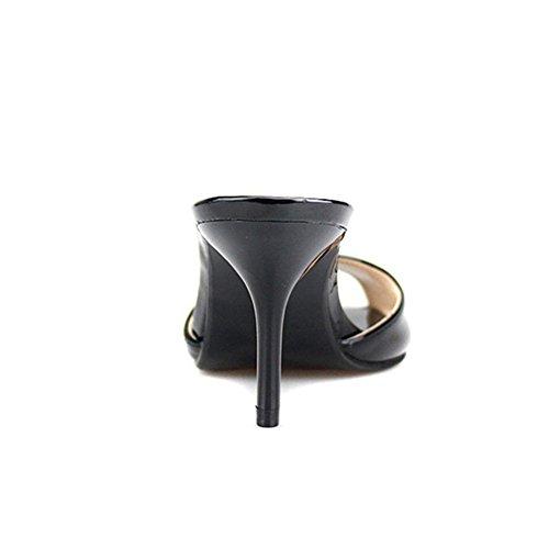 Donna Piede Scarpe Basso Rosso Pantofole black Scivolare uk7 Del Estate Sbirciare Taglia Dito Nero Sandali Su Sandalo eur39 Vestito 49 Festa 35 Tacco t6r56w
