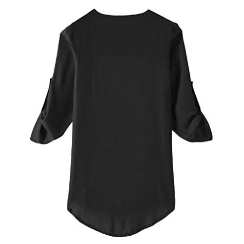 T Chic Rouge Tops Manteau Bleu Noir Casual Fluide V Blouse Sweat Manches Tunique Femme Mode Hauts Col Sweatshirt Noir Chemisier Shirt Veste Chemise Zipp Longues Mousseline 5wzagq