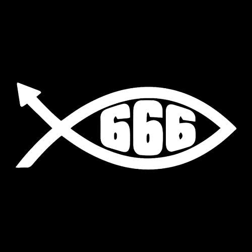 White 5 EvolveFISH 666 Devil Fish Weatherproof Vinyl Decal