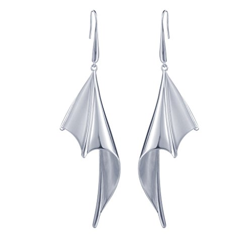 SILVERAGE Sterling Silver Bat Wing Halloween Drop Dangle Earrings (Adult Bat Wings)