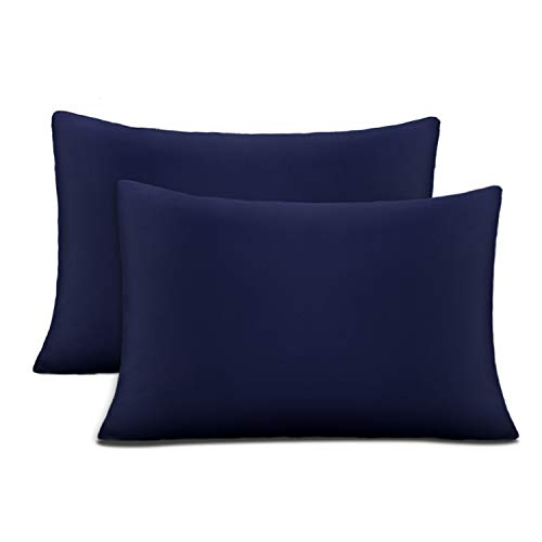 Cok Queen Pillow Cases Navy Blue, 20x30 Inch Queen Size Pillowcases Only, Ultra Soft Polyester Microfiber Pillow Cover, Comfortable & Breathable Pillow Protectors - 2 Pack (Navy Blue, Queen)